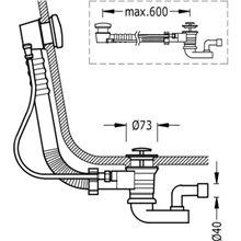 Descarga automática para banheira com ralo 73 TRES