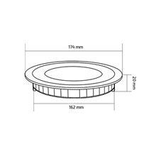 Placa LED circular ultra fina Ø17x2cm 12W preta...