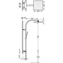 Coluna de duche termostática de aço PROJECT-TRES