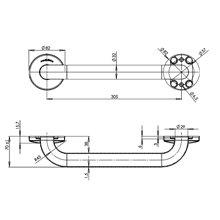 Barra reta 38 cm acetinada Medinox - MEDICLINICS