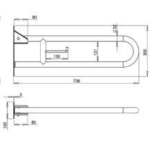 Barra rebatível 73,8 cm branca Mediepoxy -...