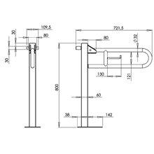 Barra com coluna 72,2 cm acetinada Medinox -...