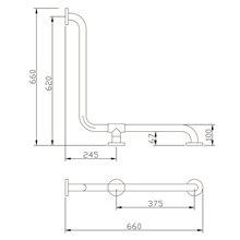 Barra 2 paredes 3 pontos de fixação Tubocolor - MEDICLINICS