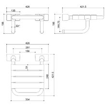 Assento rebatível de aço com apoio à parede Tubocolor - MEDICLINICS