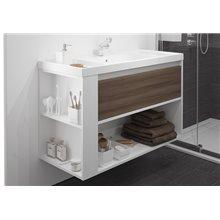 Móvel com lavatório de resina 100 cm Branco-Fresno/Branco B-Smart BATH+
