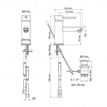 Torneira monocomando para lavatório cromado DELTA 13 - Griferías MR