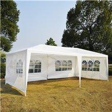 Tenda pavilhão 4 paredes 6x3x2,55m branca Outsunny