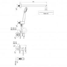 Conjunto de duche 3 funções DELTA 06 - Griferías MR