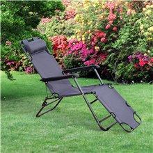 Cadeira espreguiçadeira Cinzenta Outsunny