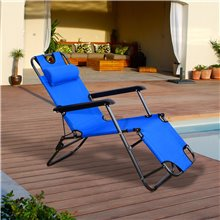 Cadeira espreguiçadeira Azul Outsunny