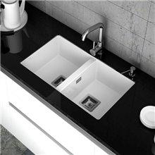 Lava-louças de 2 pias Branco 75 x 45 cm Zie Poalgi