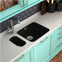 Lava-louças de 1 pia Preto Liso 54 x 44,5 cm...