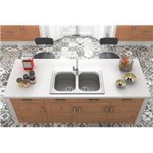 Lava-louças de 2 pias Preto Liso 80 x 44 cm...