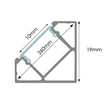 Perfil Fita LED retangular alumínio 2 metros -...