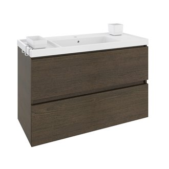 Móvel com lavatório de resina 100 cm Carvalho chocolate B-Box BATH+