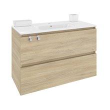 Móvel com lavatório de porcelana retangular 100 cm Carvalho nature B-Box BATH+