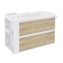 Móvel com lavatório de resina 100 cm Branco-Carvalho nature/Branco 2 gavetas B-Smart BATH+