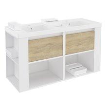 Móvel com lavatórios de resina 120 cm Branco-Carvalho nature/Branco B-Smart BATH+