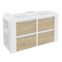 Móvel com lavatórios de resina 120 cm Branco-Carvalho nature/Branco 4 gavetas B-Smart BATH+
