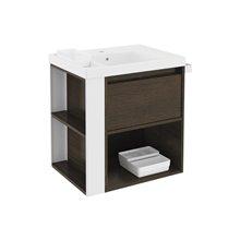 Móvel com lavatório de resina 60 cm Carvalho chocolate/Branco B-Smart BATH+