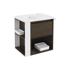 Móvel com lavatório de porcelana 60 cm Carvalho chocolate/Branco B-Smart BATH+