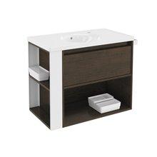 Móvel com lavatório de porcelana 80 cm Carvalho chocolate/Branco B-Smart BATH+