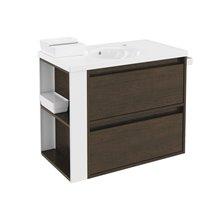 Móvel com lavatório de porcelana 80 cm Carvalho chocolate/Branco 2 gavetas B-Smart BATH+