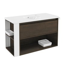 Móvel com lavatório de porcelana 100 cm Carvalho chocolate/Branco B-Smart BATH+