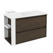 Móvel com lavatório de porcelana 100 cm Carvalho chocolate/Branco 2 gavetas B-Smart BATH+