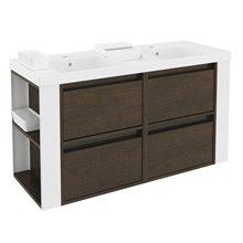 Móvel com lavatórios de resina 120 cm Carvalho chocolate/Branco 4 gavetas B-Smart BATH+