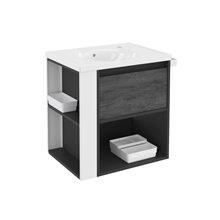 Móvel com lavatório de porcelana 60 cm Antracite-Frontal xisto nature/Branco B-Smart BATH+