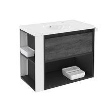 Móvel com lavatório de porcelana 80 cm Antracite-Frontal xisto nature/Branco B-Smart BATH+