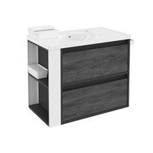 Móvel com lavatório de porcelana 80 cm Antracite-Frontal xisto nature/Branco 2 gavetas B-Smart BATH+