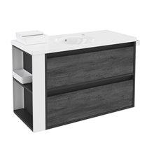 Móvel com lavatório de porcelana 100 cm Antracite-Frontal xisto nature/Branco 2 gavetas B-Smart BATH+