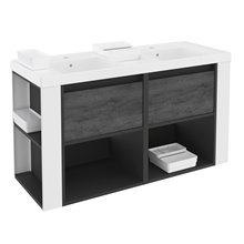 Móvel com lavatórios de resina 120 cm Antracite-Frontal xisto nature/Branco B-Smart BATH+