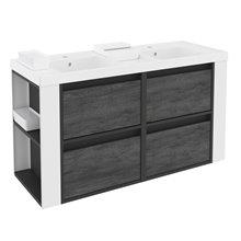Móvel com lavatórios de resina 120 cm Antracite-Frontal xisto nature/Branco 4 gavetas B-Smart BATH+