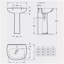 Lavatório para pedesdal ou semi-pedestal Basic...