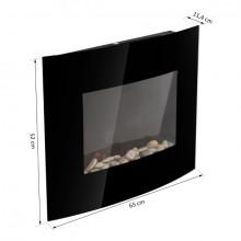 Lareira elétrica de parede com vidro preto de...