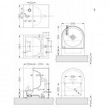 Lavatório mural fechado botão aço - NOFER