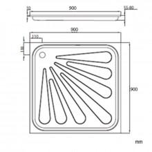 Base de duche aço 90x90 cm - NOFER