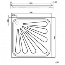 Base de duche aço 80x80 cm - NOFER