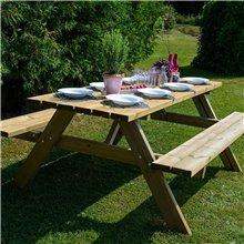 Mesa de madeira picnic para 6 pessoas Essential...