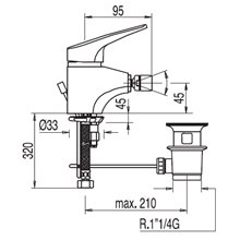 Torneira de bidé com drenagem automática Pol TRES