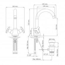 Torneira monoblock para lavatório com cano alto MARIN - Griferías MR