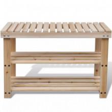 vidaXL Sapateira 2-em-1 com banco madeira de...