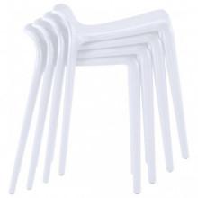 vidaXL Bancos empilháveis 4 pcs plástico branco