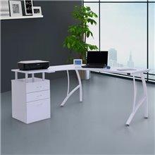 Secretária para computador em forma de L branco...