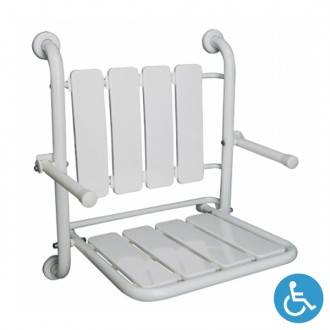 Assento de duche dobrável WCCARE de fixação à parede com apoio de braços - Unisan Sanindusa