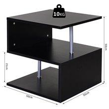 Mesa auxiliar preta com design moderno Homcom