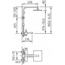 Coluna Bimini de casa de banho com duche extensível - CLEVER